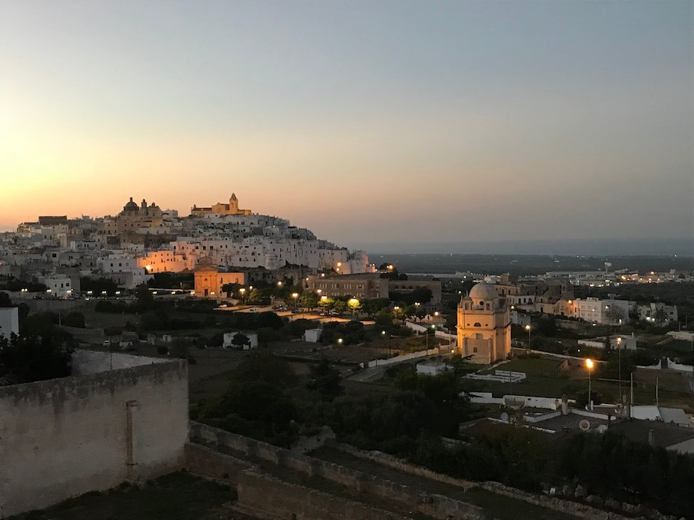 Ostuni by night, the white city, city view