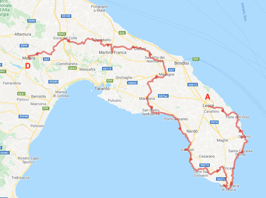 Bike map of Puglia